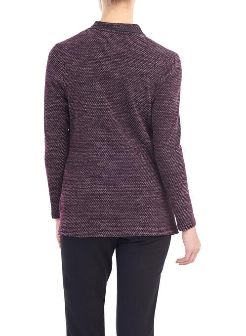 Cascade Collar Textured Knit Top, Purple, hi-res