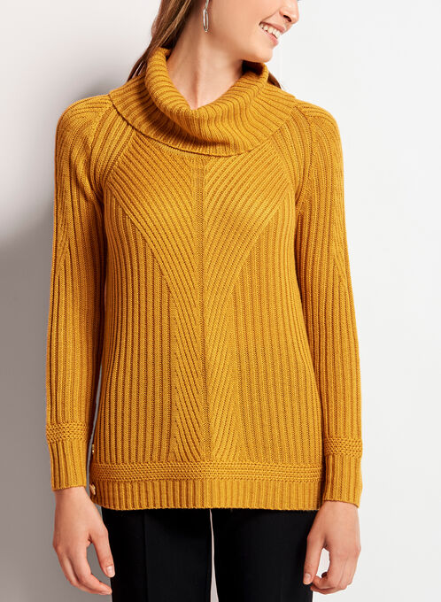 Embellished Cowl Neck Ribbed Sweater, Yellow, hi-res