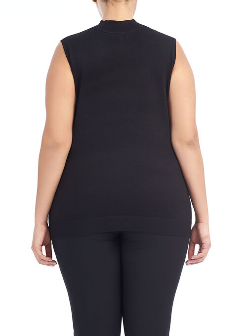 Sleeveless Knit Funnel Neck Top, Black, hi-res