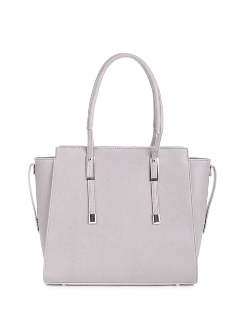 Textured Faux Leather Tote , Grey, hi-res