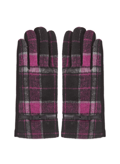 Plaid Print Double-Faced Gloves, Pink, hi-res