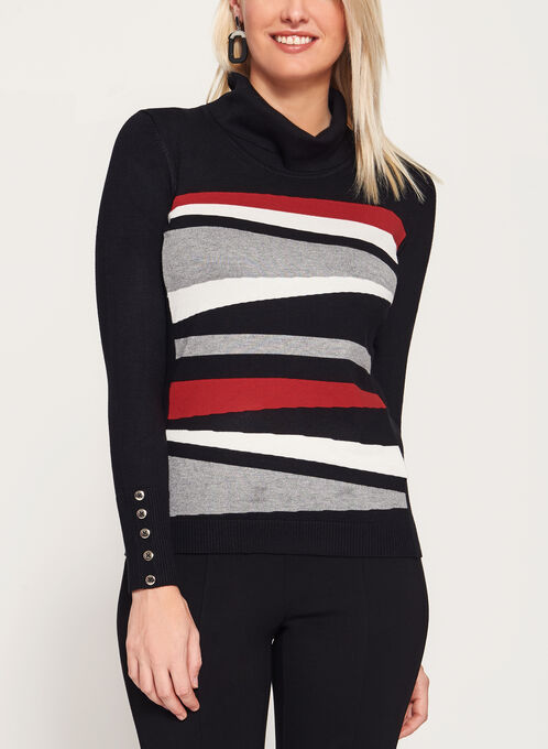 Stripe Knit Funnel Neck Sweater, Grey, hi-res