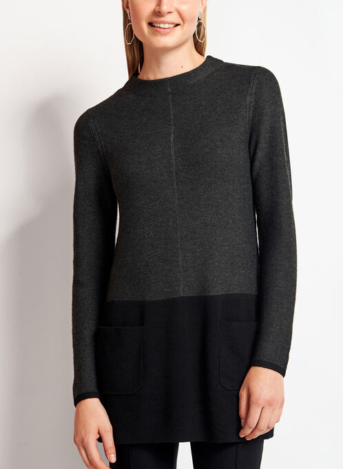 Colour Block Mock Neck Sweater, Grey, hi-res