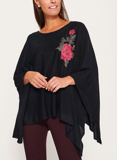 Embellished Floral Appliqué Poncho, Black, hi-res
