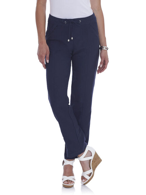 Straight Leg Linen Pants, Blue, hi-res