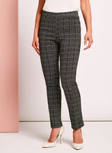 Slim Leg Grid Pattern Pants, Black, hi-res