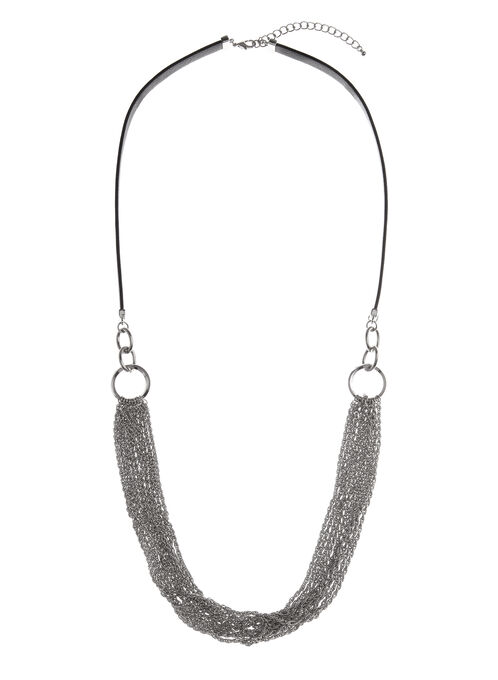 Multi Chain & Faux Leather Necklace, Black, hi-res