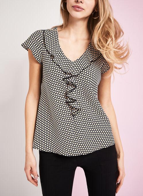 Ruffle Front Dot Print Blouse, Black, hi-res