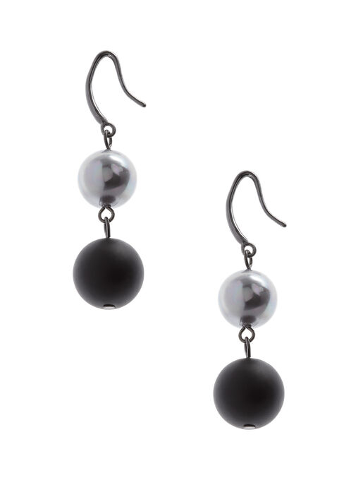 Matte & Shiny Tiered Dangle Earrings , Black, hi-res