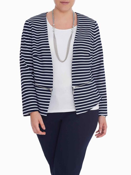 Stripe Print Zipper Trim Jacket, Blue, hi-res