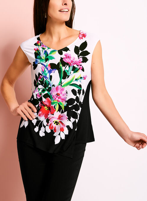 Asymmetric Floral Print V-Neck Blouse, Black, hi-res