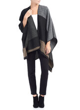 Colourblock Stitching Detail Poncho, Black, hi-res