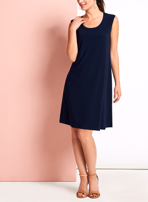 Scoop Neck Trapeze Dress, Blue, hi-res