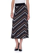 Abstract Print Maxi Skirt, Black, hi-res