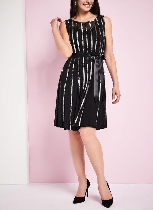 Mesh Fit & Flare Dress, Black, hi-res