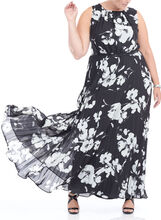 Floral Print Chiffon Maxi Dress, Black, hi-res