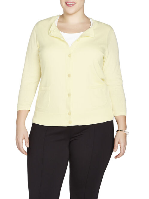 3/4 Sleeve Fine Ribbed Trim Cardigan, Yellow, hi-res