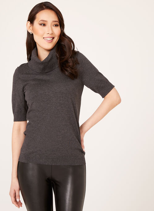Cowl Neck Short Sleeve Sweater , Grey, hi-res