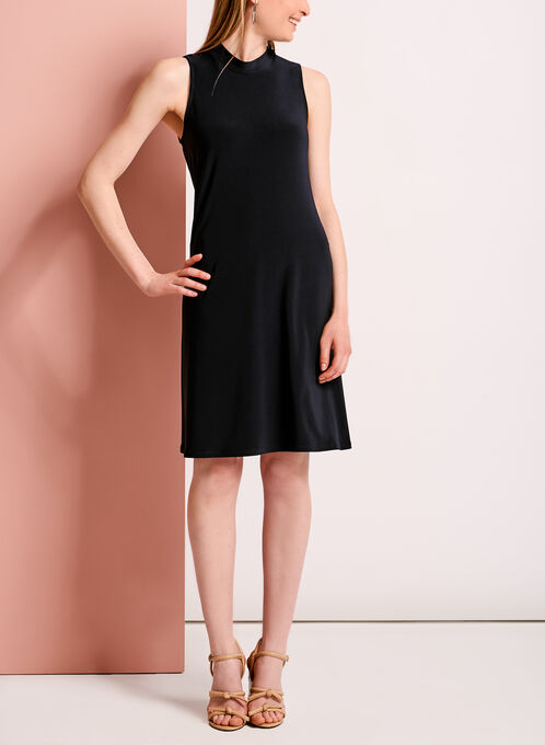 Mock Neck Trapeze Dress, Blue, hi-res