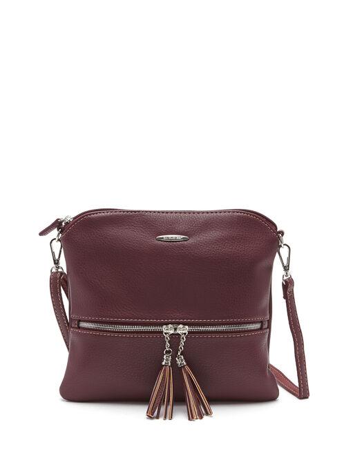 Double Tassel Detail Crossbody Bag, Red, hi-res