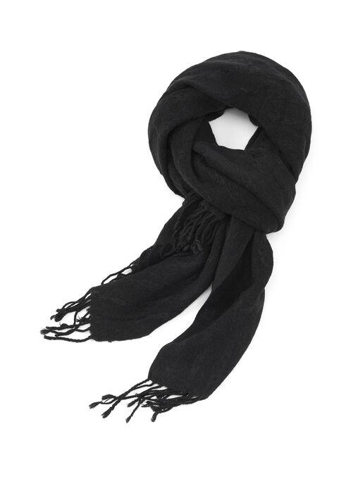 Oblong Blanket Scarf, Black, hi-res