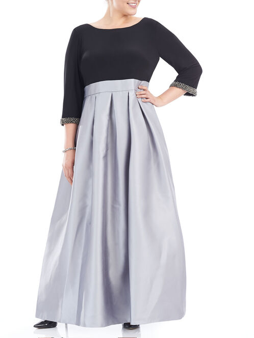 Mikado Pleated Beaded Cuff Dress, Black, hi-res