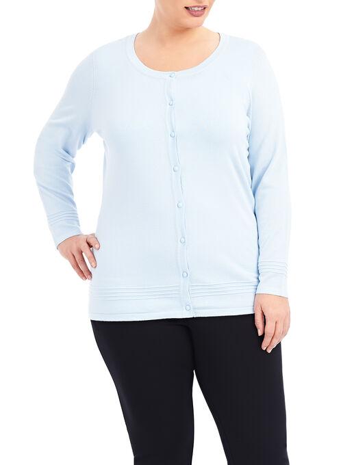 Long Sleeve Knit Cardigan , Blue, hi-res
