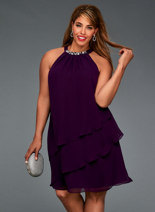 Crystal Embellished Tiered Chiffon Dress, Purple, hi-res