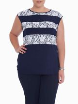 Short Sleeve Lace Top , Blue, hi-res