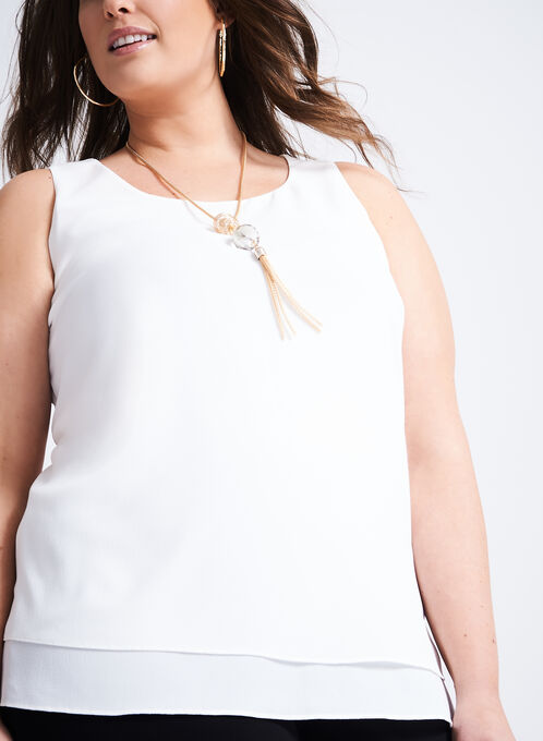 Hammered Chiffon Sleeveless Blouse, Off White, hi-res