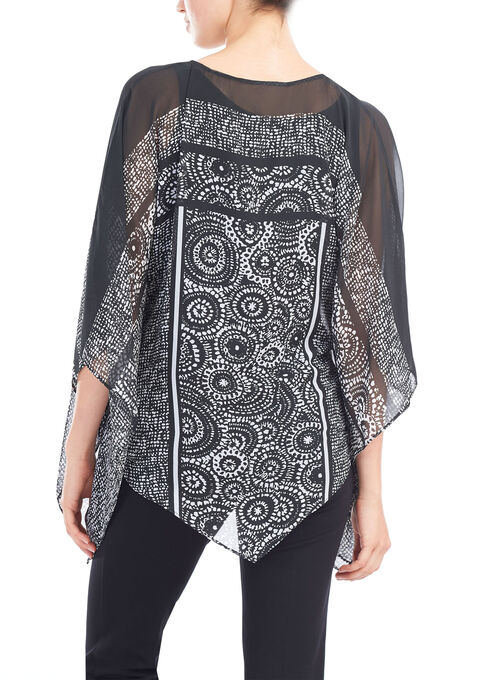 Sheer Floral Print Poncho Blouse , Black, hi-res