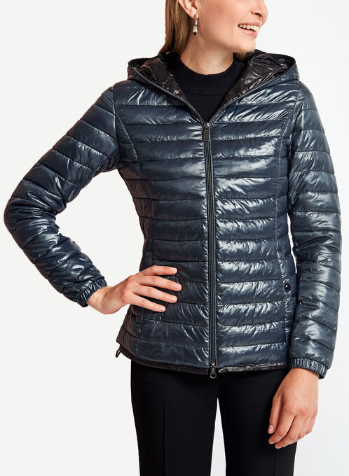 Quilted Contrast Packable Coat, Blue, hi-res
