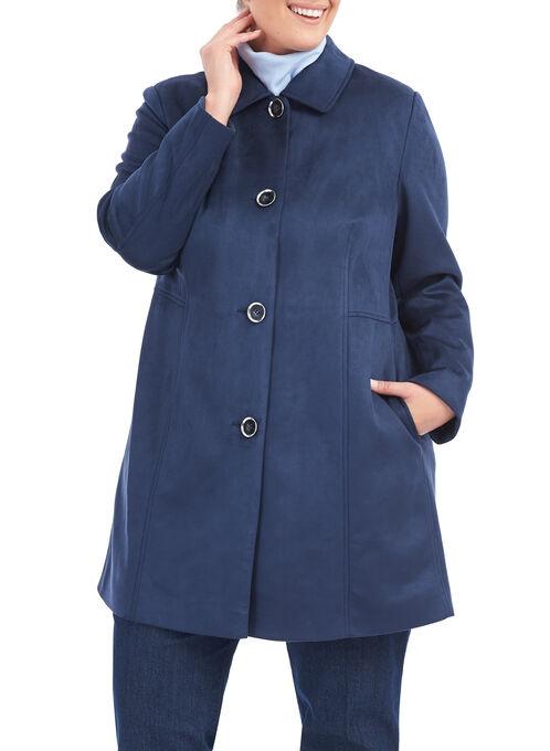 Novelti Faux Suede Jacket , Blue, hi-res