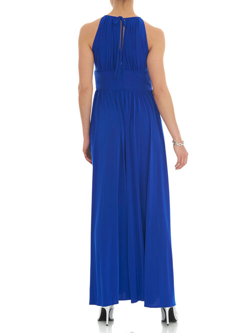 Embellished Waist Keyhole Gown, Blue, hi-res