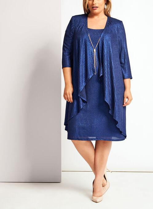 Lurex Rib Knit Dress, Blue, hi-res