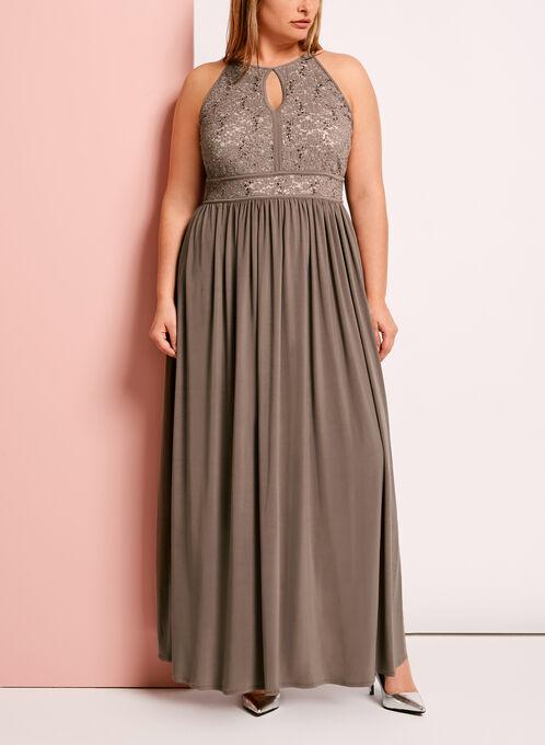 Glitter Lace Keyhole Dress, White, hi-res