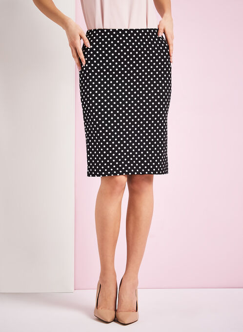 Polka Dot Print Pencil Skirt, Black, hi-res
