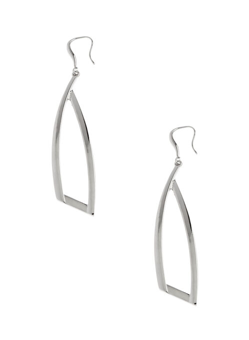 Open Geometric Earrings, Silver, hi-res
