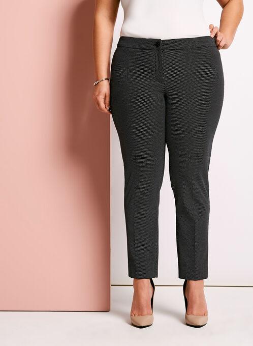Dot Print Slim Leg Pants, Blue, hi-res