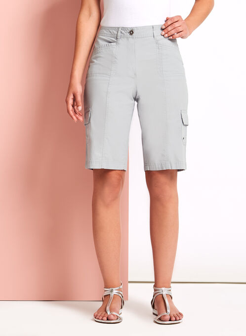 Modern Fit Cargo Shorts, Silver, hi-res
