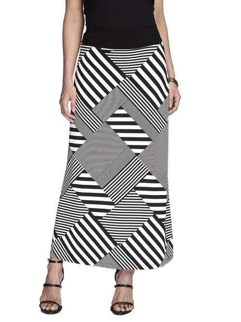 Patchwork Striped Maxi Skirt, Black, hi-res