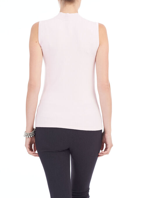 Sleeveless Knit Mock Neck Top, Pink, hi-res