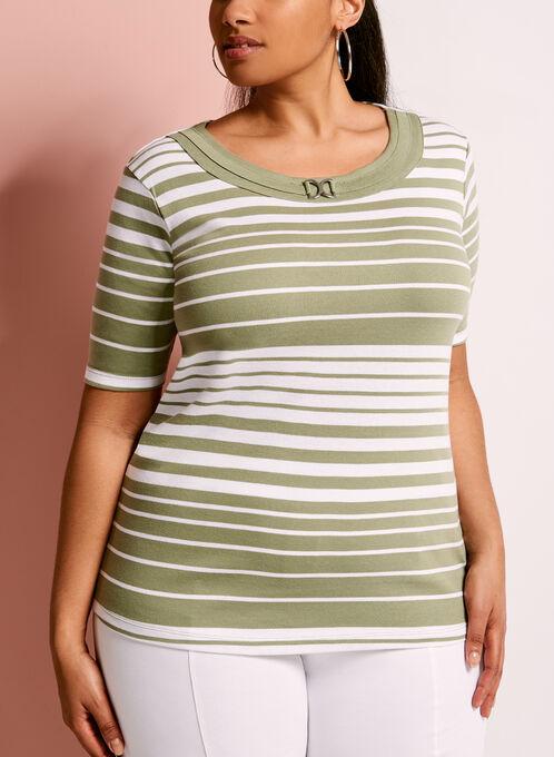 Stripe Print Ring Trim T-Shirt, Green, hi-res