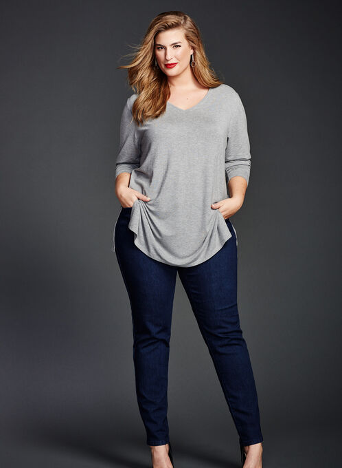 Modern Fit Straight Leg Jeans, Blue, hi-res