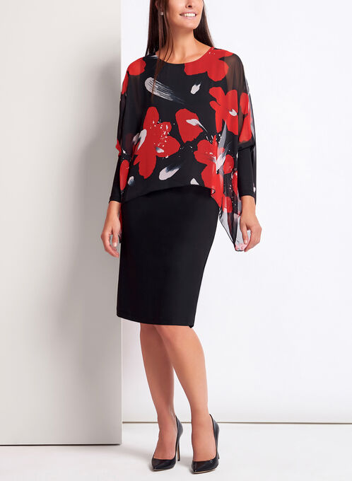 Floral Poncho Chiffon Jersey Dress, Black, hi-res