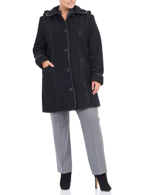 Fen-Neli Wool & Faux Leather Coat , Black, hi-res