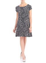 Short Sleeve Printed Fit & Flare Dress , Black, hi-res