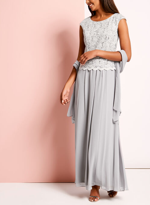 Sequin Lace Embellished Dress with Shawl, Silver, hi-res
