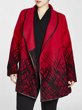 Grid Plaid Border Print Wool Jacket, Red, hi-res