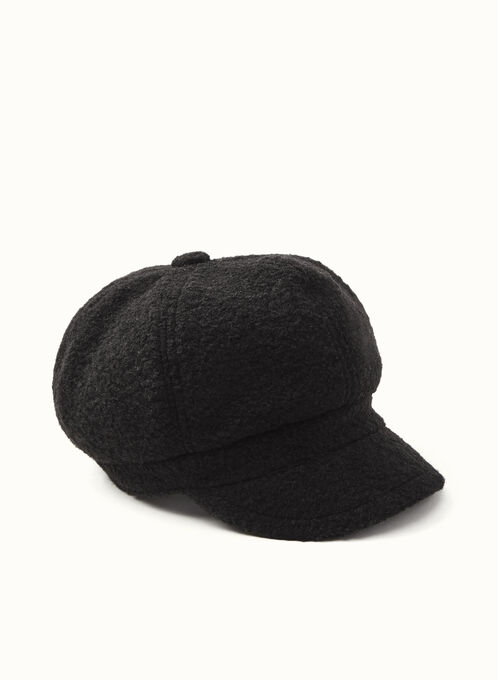 Wool & Fleece Newsboy Hat, Black, hi-res
